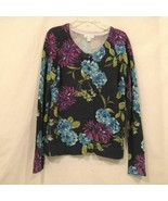 Charter Club Womens Cardigan Sweater Size Small Navy Blue Floral Print B... - $14.99