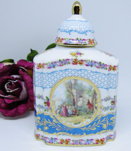 Limoges China Romantic Scene Blue with Roses Porcelain Jar Box Gold Trim - $39.59