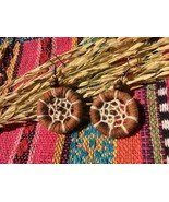 Tribal Handmade dangle earrings from cotton web and wood circle, Ethnic ... - $16.45