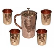 Pure Hammered Copper Jug With Mug Set Highly Energized For Ayurvedic Ben... - $16.74+