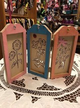 Small Wooden Divider Dragonfly Lady Bug Flowers Floral Hinged Handmade C... - $6.15