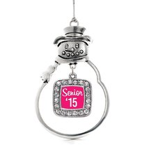 Inspired Silver Hot Pink Senior '15 Classic Snowman Holiday Christmas Tree Ornam - $14.69