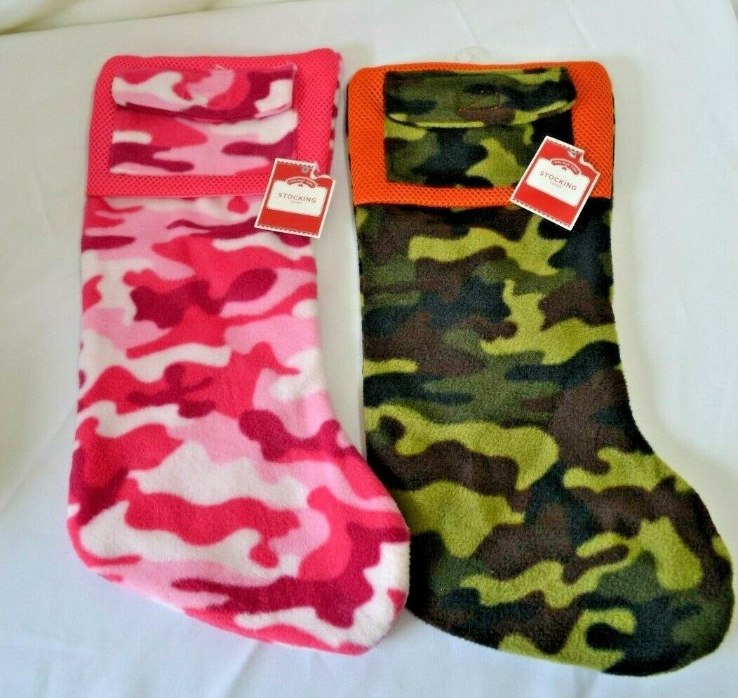 Primary image for Camouflage His and Hers Christmas Stocking with Gift Card Holder Pocket