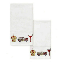 Tommy Bahama Embroidered Hand Towel Set of 2 Happy Huladays Tropical Gar... - $39.48