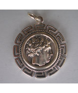 Apollo Silver Coin Pendant with Meander Design - God of Light and Healing - $49.90