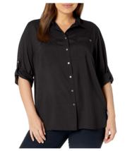 Calvin Klein Women's Plus Size Boyfriend Tunic Long Sleeve Blouse Black ... - $59.39