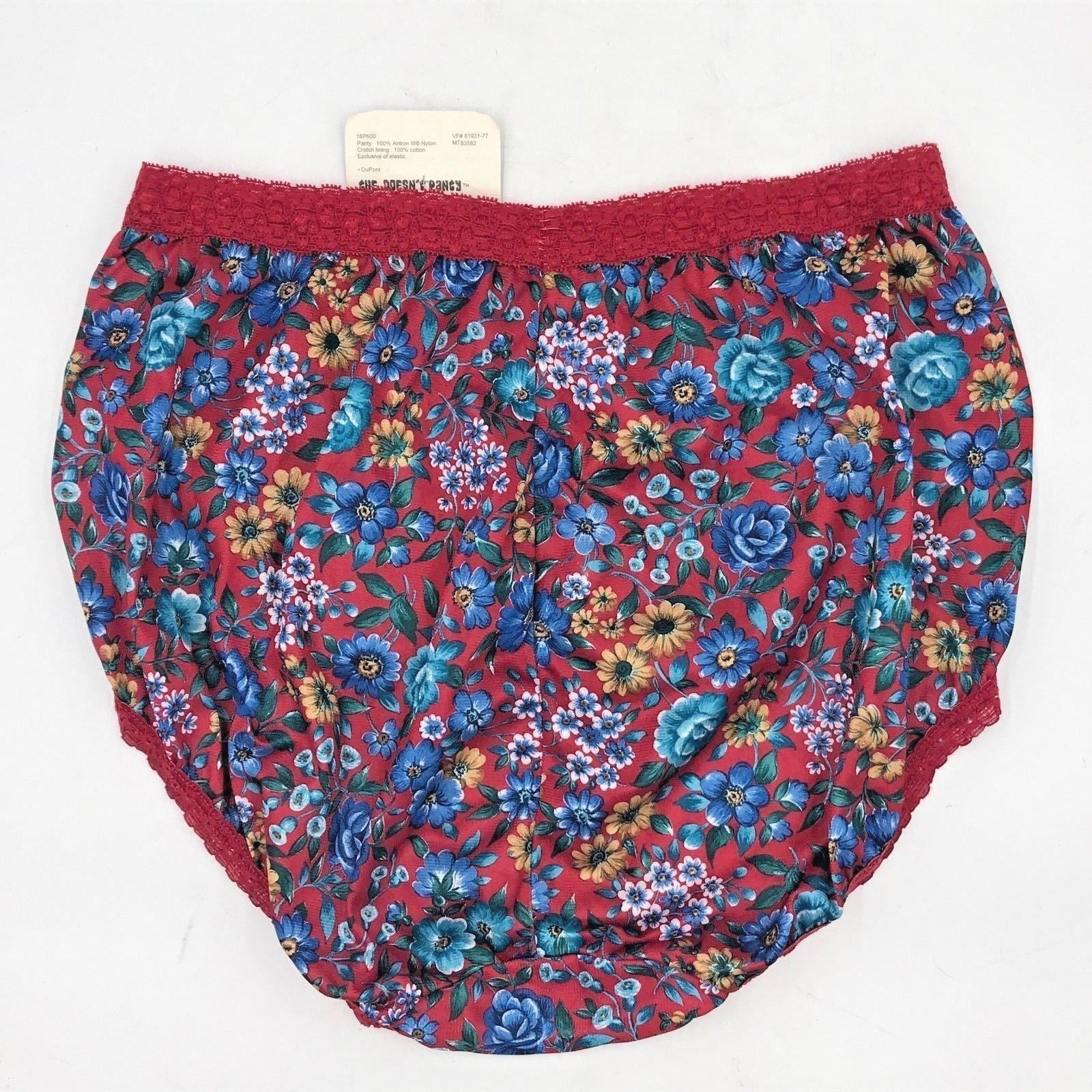 36f5f20b5 Vintage Sears The Doesnt Panty Brief size 7 NWT Backseam Red Nylon Blue  Roses AC