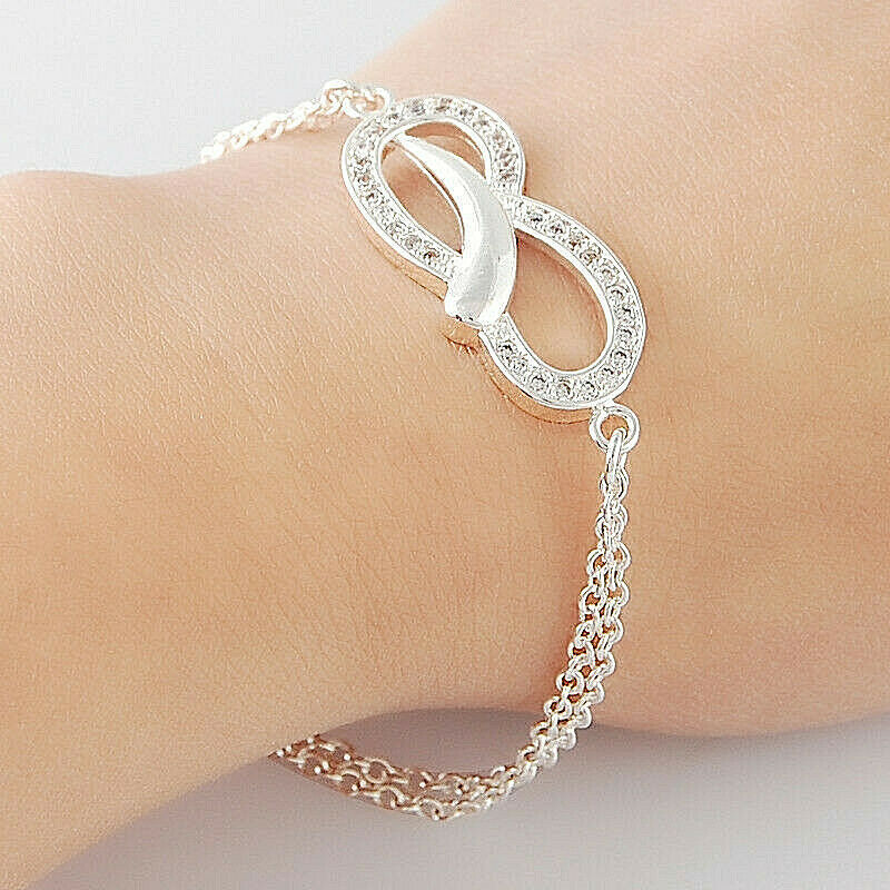 Primary image for Double Link Chain Bracelet With Crystal 925 Sterling Silver NEW