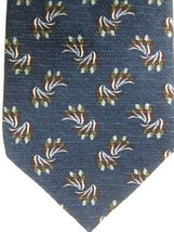 GORGEOUS Jhane Barnes Blue With Silver and Burgundy Waves Japan Silk Tie - $37.49