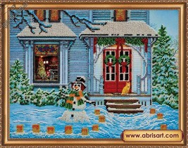 Beads Embroidery Kit with Christmas Pattern, Snowman Print, Winter art - $30.45