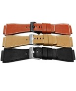 Genuine Leather Watch Band 3mm Thick Black Yellow Red Brown 34mm*24mm Strap - $21.84