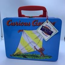 Vintage Schylling Curious George Bright Blue Tin Lunchbox Keepsake Box 1997 - $16.00