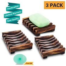 Magift 3 Piece Soap Dish Holder, Bathroom Wooden Soap Case, Sink Deck Ba... - $11.47