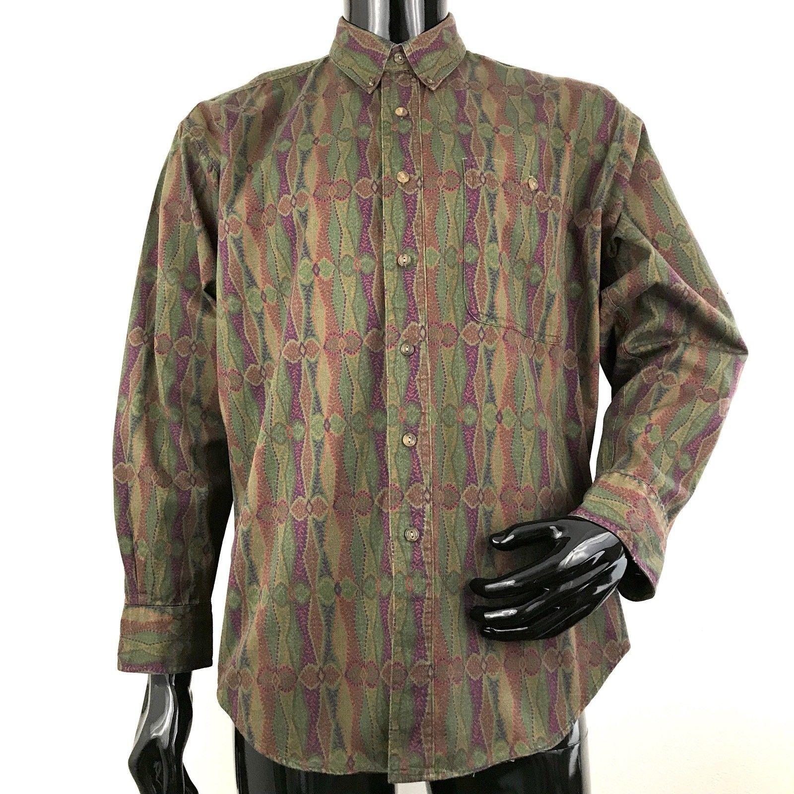 16608f4ea S l1600. S l1600. Previous. Vintage Chaps Ralph Lauren Mens L Multicolored  Striped Long Sleeve Button Shirt