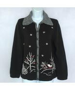 Christopher Banks Embroidered Knit Cardigan Sweater Button Up Winter Sce... - $39.95