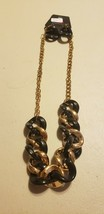 Paparazzi Short Necklace & Earring set (new) #694 BLACK & GOLD CHAIN - $7.61