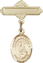 14K GF Baby Badge with St. Margaret Mary Alacoque Charm Pin 1 X 5/8 inch - $87.10