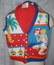 Marisa Christina Petite Hand Knit Sweater Vest Beach Tropical Palm Trees... - $13.30