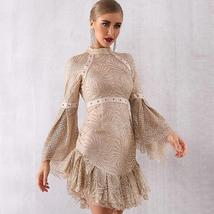 Women's Brand Designer Style Flare Sleeve Sequined Mini Club Dress