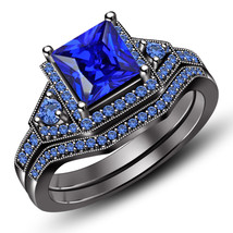 Princess Cut Blue Sapphire Womens Bridal Ring Set 14k Black Finish 925 S... - $107.99
