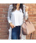 Fashion Autumn Outerwear Women Long Sleeve Striped Cardigan Casual Elbow... - $13.74+