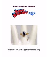10k Gold Genuine Sapphire and Diamond Ring Brand New LAY IT AWAY - $395.00