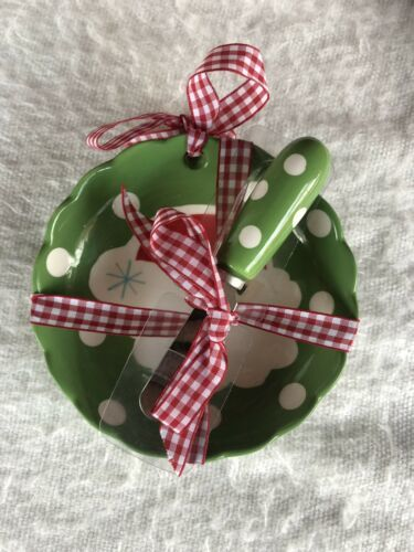 Primary image for New Hallmark Christmas Bowl Spreader Green Polka Dots Santa Gingham Ribbon NWT