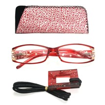 +1.25 Red Foster Grant Reading Glasses Women Spring Hinges Matching Case Lanyard - $8.95