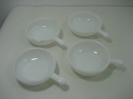 Vintage Set of Four (4) Milk Glass Cereal or Soup Bowls With Lug Handles - $34.60