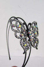 Hot Women Headband Fashion Big Butterfly Silver Pewter Red Bling Beads H... - €19,12 EUR