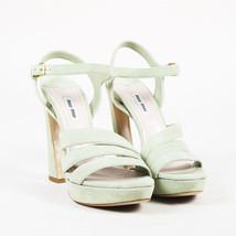 """Miu Miu """"Pistacchio"""" Green Suede Ankle Strap Platform Sandals SZ 40 - $140.00"""