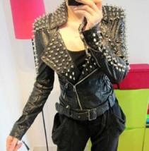 New Women's Punk Rock Spike Studded Shoulder Leather Coat Motorcycle Jacket - $289.99