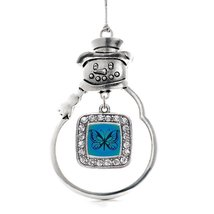 Inspired Silver Blue Butterfly Classic Snowman Holiday Christmas Tree Ornament W - $14.69