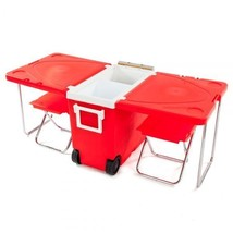 Outdoor Picnic Foldable Multi-Function Rolling Cooler Red  Outdoor Table... - €94,25 EUR