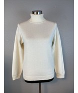 Lands End Womens Sweater S Smal White Turtleneck 100% Cashmere - $98.99