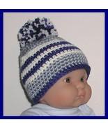 Dusty Royal Blue Baby Hat Boys Newborn Boys Pompom Off White  0-6 Months - $11.00