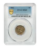 1863 1c PCGS MS65 - Popular Copper-Nickel Cent - Indian Cent - $921.50