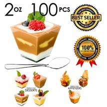 100Pcs Mini Dessert Cups Appetizer Bowls Spoons Disposable Glasses Clear... - £19.07 GBP