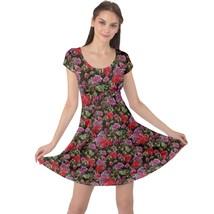 Women's Geranium Flower Print Elastic Stretchy Cap Sleeve Dress (XS-5XL, Black) - $28.99+