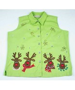 UGLY CHRISTMAS SWEATER CONTEST BRIGHT LIME GREEN REINDEER SHIRT WOMENS L... - $16.23