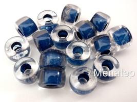 25 5 x 9 mm Czech Glass Roller Beads: Crystal - Navy Blue Lined - $2.61