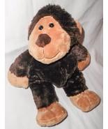 Sideways Looking Monkey Brown Tan Plush Stuffed Animal Big Feet Head Turned - $19.77