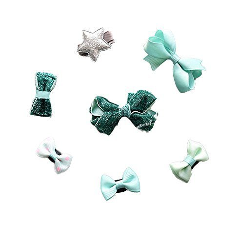 7 Pieces Sweet Style Baby Girl Hair Barrettes Hair Pins Hair Clip Set Mint Green