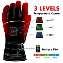 Electric Heated Gloves with Rechargeable Battery 3 Levels Temperature Co... - $112.58 CAD