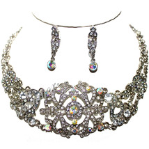Victorian Vintage Austrian Crystal Scroll Aurora Borealis & Clear Necklace Set - $24.95