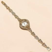 Natural Russian White Topaz Wrist Watch 925 Sterling Silver Twotone Fine... - $49.50