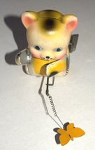 Vintage Tin Cat Butterfly Catcher Metal Toy Wind Up Spring MASUDAYA Japan 1960's image 4