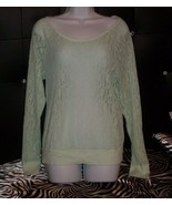 VICTORIA'S SECRET PINK MINT GREEN LACE TOP SEE THROUGH LONG SLEEVE PULLO... - $18.20