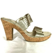Sofft Womens Shoes size 9 1/2 9.5 Gold Leather Cork Sandals Heels Exc Co... - $64.35