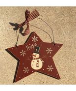 Primitive Wood 74704H - Hope Star Snowman Christmas Ornament  - $3.95